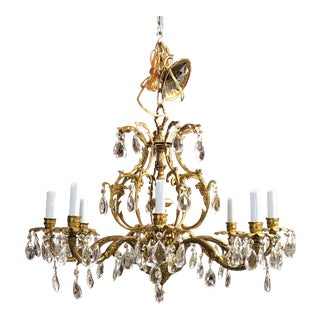 1940's Vintage Antique Large Bronze and Crystal 8 Arm Chandelier For Sale