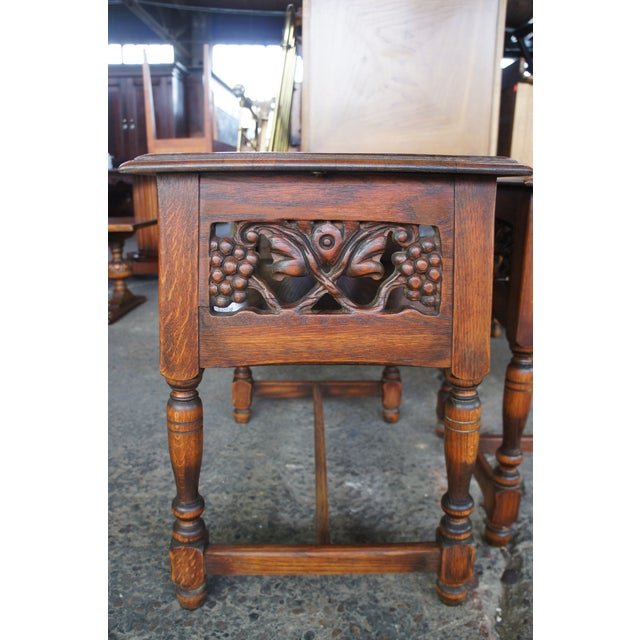 Feudal Oak Jamestown Lounge Co Side Table. A classic example of Spanish/Jacobean revival. Features an open shelf with a...