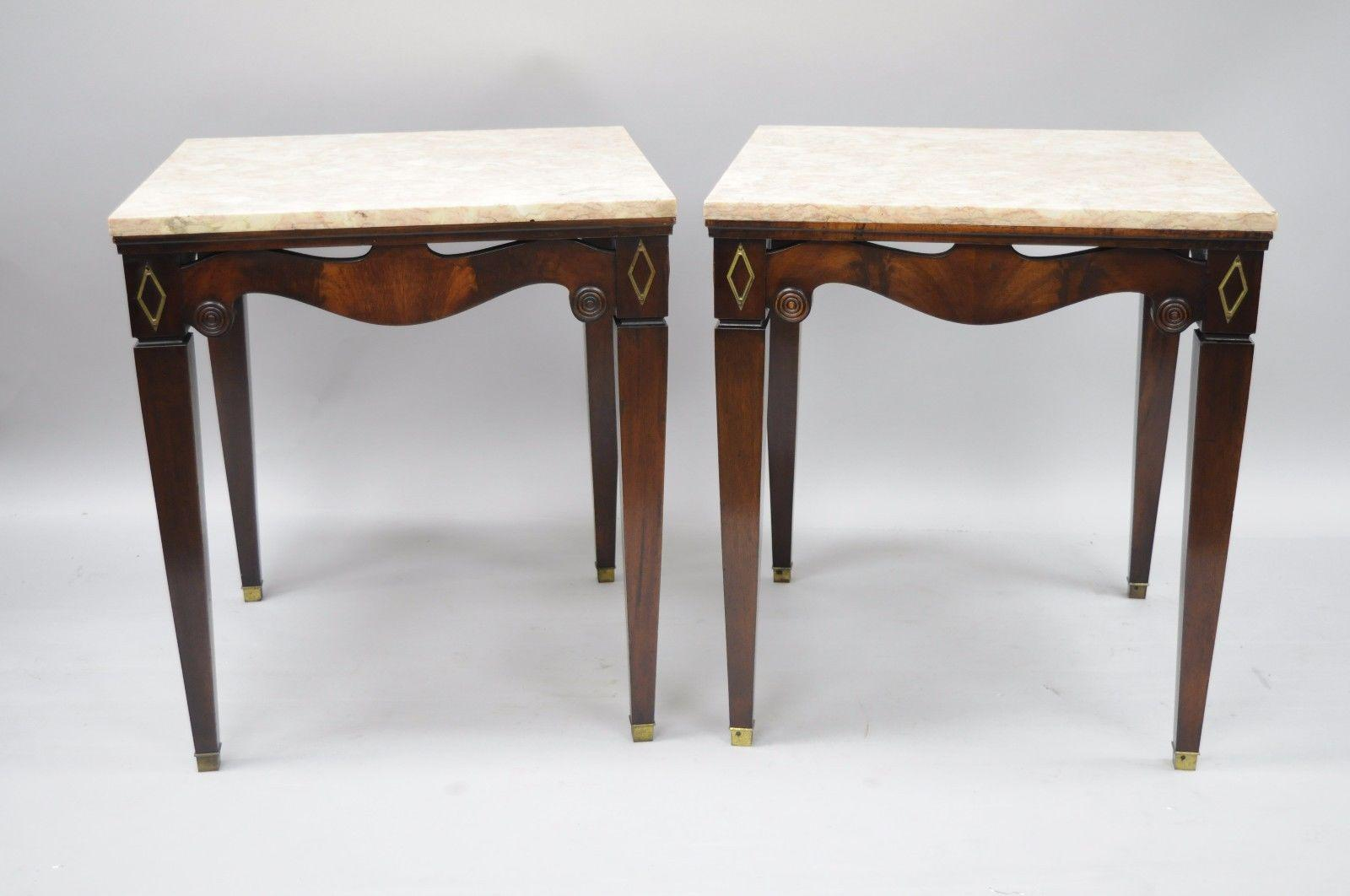 Pair Of Antique Pink Marble Top Mahogany End Tables Regency Square Weiman  Era   Image 3