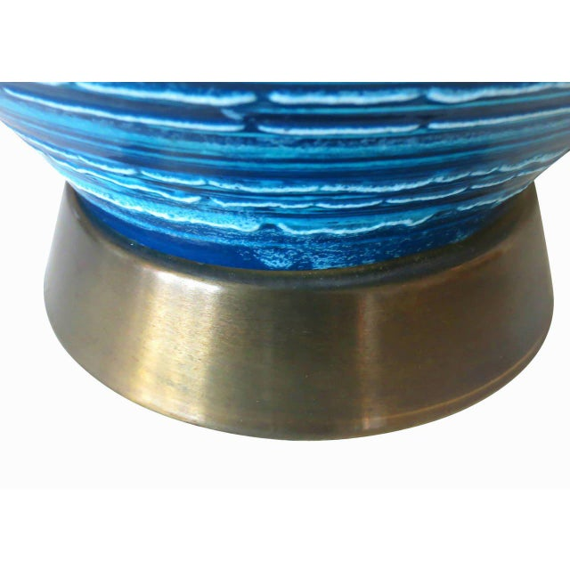Mid-Century Variegated Blue Striped Glazed Ceramic Lamp - Image 6 of 6