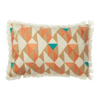 "Justina Blakeney X Loloi Orange / Multi 13"" X 21"" Cover with Down Pillow For Sale"