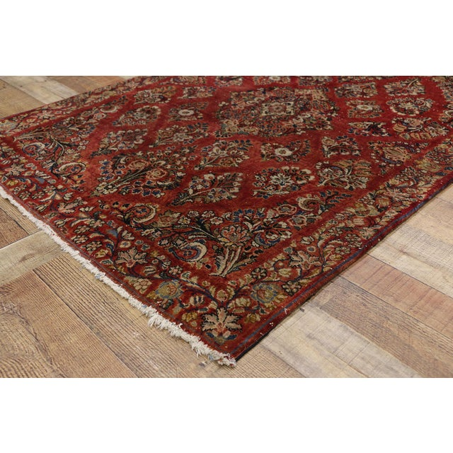 Antique Sarouk Persian Rug With Traditional Style - 03'04 X 04'08 For Sale In Dallas - Image 6 of 10