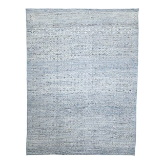 Afghan Moroccan Style Rug With Gray Tribal Details on Ivory & Blue Field For Sale