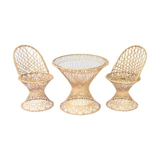 Mid-Century Modern Rattan Child's Table & Chairs