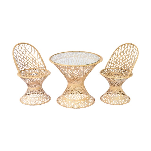 Mid-Century Modern Rattan Child's Table & Chairs For Sale