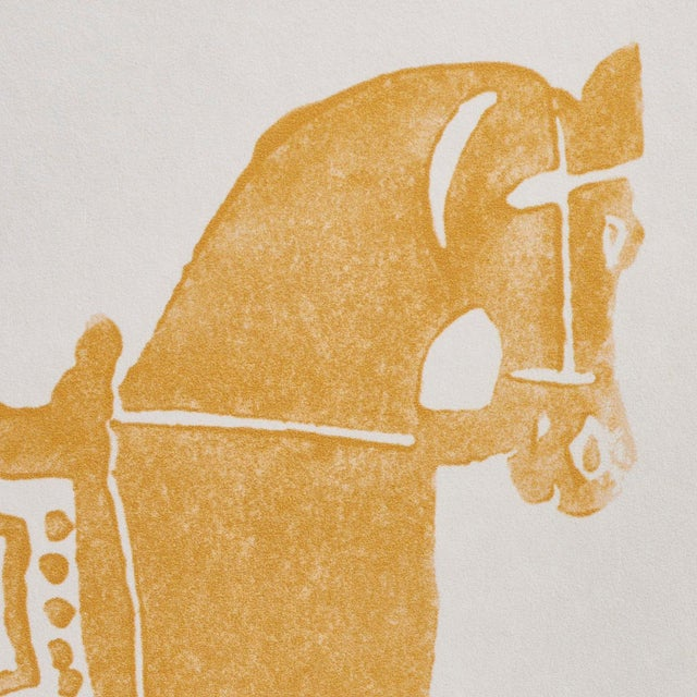 Schumacher Sample - Schumacher x Molly Mahon Marwari Horse Wallpaper in Mustard For Sale - Image 4 of 5
