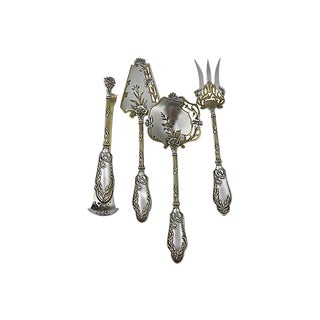 Antique French Sterling & Gold Set 4-Pcs For Sale