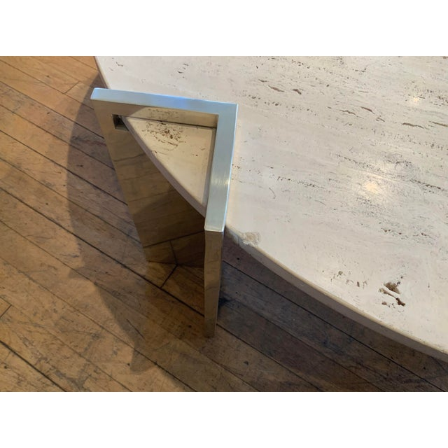1970s Travertine and Steel Cocktail Table by Pace Collection For Sale In New York - Image 6 of 8