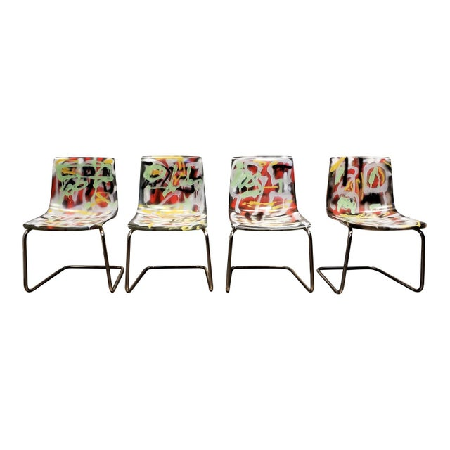 Graffitied Carl Ojerstam Chairs Painted by Artist Lionel Lamy For Sale - Image 9 of 9