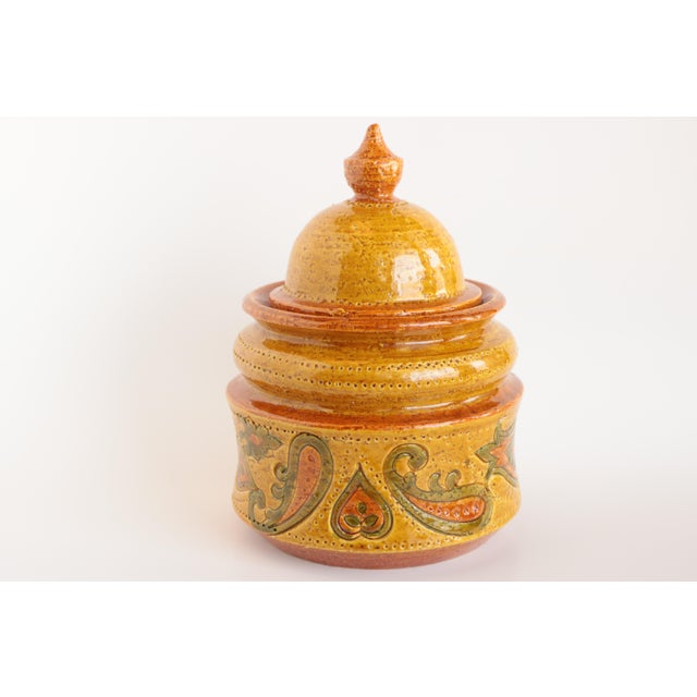 Mid-Century Modern Aldo Londi for Bitossi Paisley Lidded Pottery Jar For Sale - Image 3 of 11