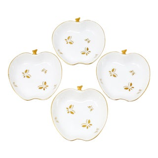 Vintage Apple Hand-Painted Porcelain Dishes With Gold Rim, Butterflies - Set of 4 For Sale