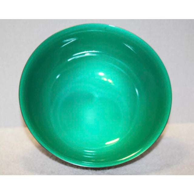 Beautiful vintage Reed & Barton Paul Revere bowl with interior green enamel finish. Maker's mark on underside, states...