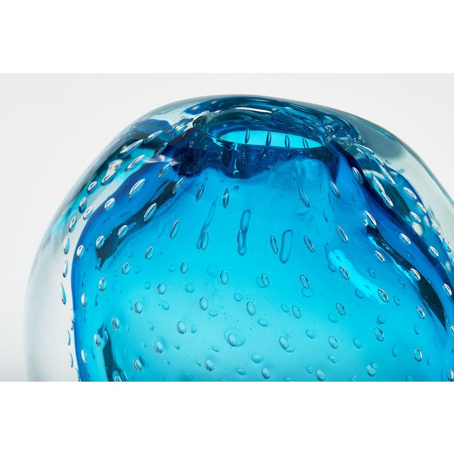"""Blue Blue Murano Glass """"Sommerso"""" Vase For Sale - Image 8 of 10"""