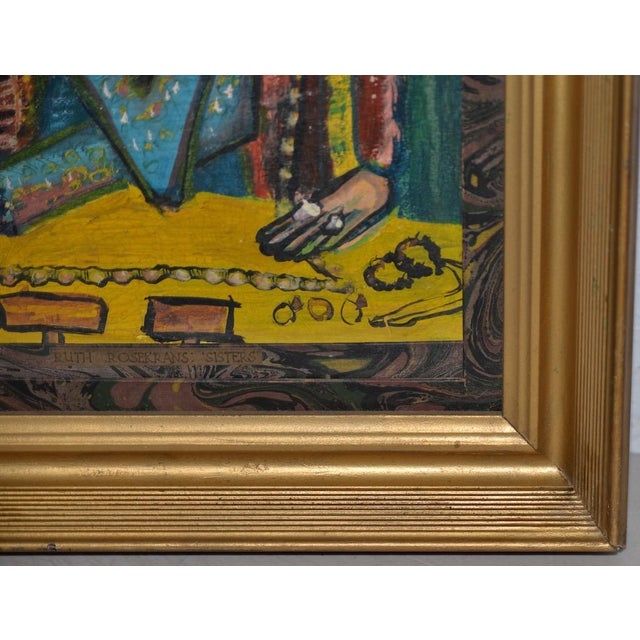 """Ruth Rosekrans (1926-2007) """"Sisters"""" Original Oil Painting C.1950s For Sale In San Francisco - Image 6 of 10"""