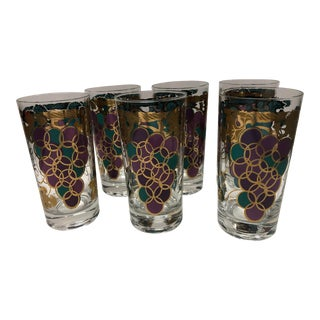 Fred Press Purple Grapes Highball Glasses - Set of 6 For Sale