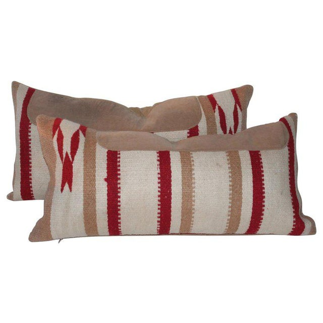 Navajo Indian Weaving Saddle Blanket Pillows - A Pair For Sale - Image 10 of 10