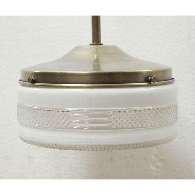 Mid-Century Modern Mid Century 8.5 In. Glass Globe Brass Pole Pendant Light For Sale - Image 3 of 7