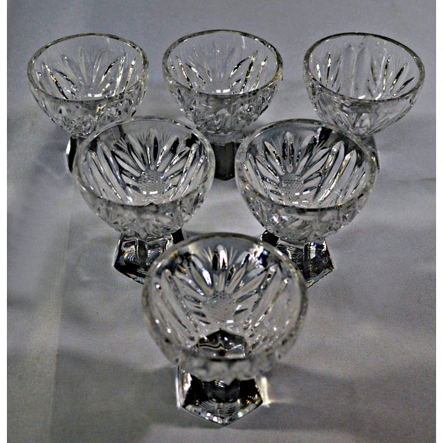 Mid 20th Century Cut Crystal W/Faceted Base Egg Cups - Set of 6 For Sale - Image 5 of 6