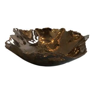 Contemporary Tozai Home Small Metallic Gold Flow Ceramic Bowl For Sale