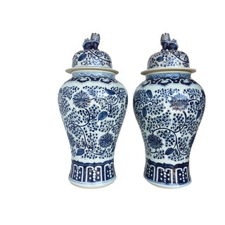 "Mansion Size Chinoiserie B & W Porcelain Floral Ginger Jars Pair 35.5"" H"