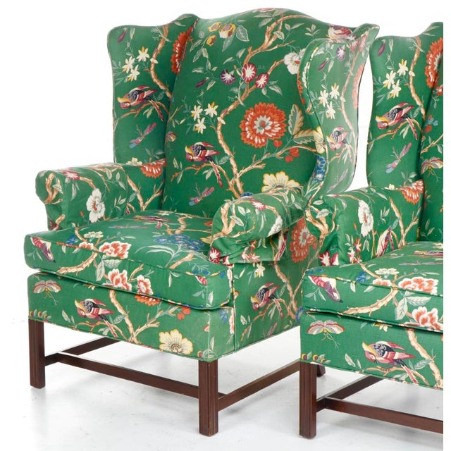 Mid 20th Century Vintage George III Style Wingback Chairs - a Pair For Sale - Image 5 of 10