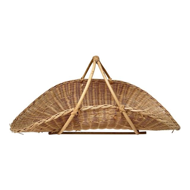 1970s Boho Chic Wicker Rattan Flower Gathering Basket For Sale