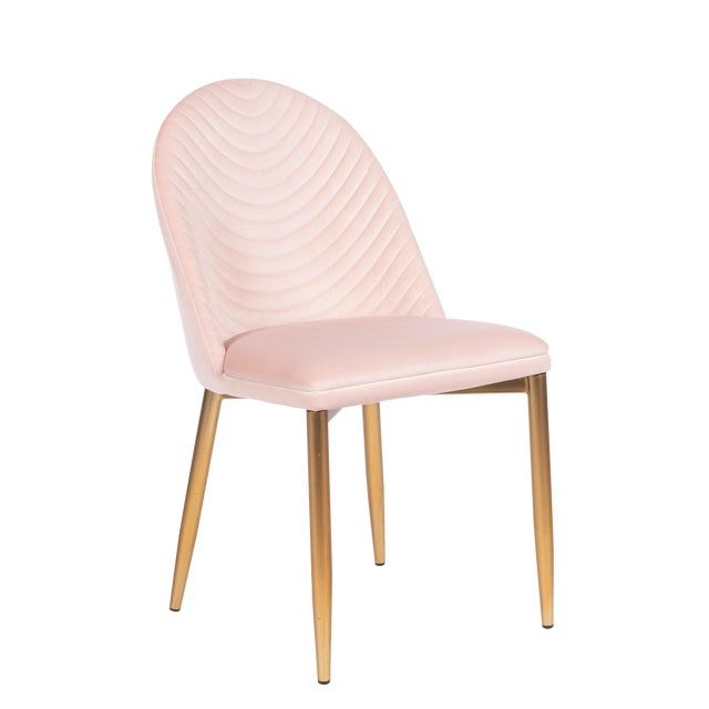 Blush Wave Upholstered Dining Chair For Sale