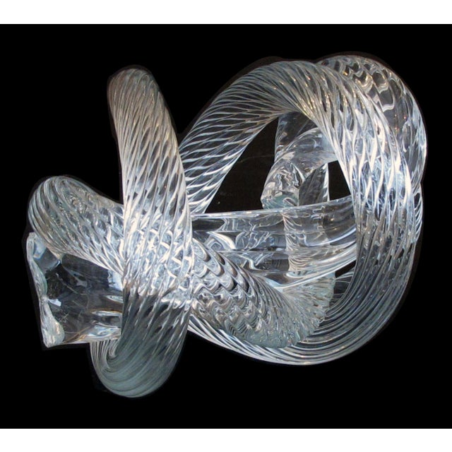 Transparent A Well-Crafted and Heavy Glass Rope Knot by Fusion Z Glassworks; With Acid Etched Signature For Sale - Image 8 of 8