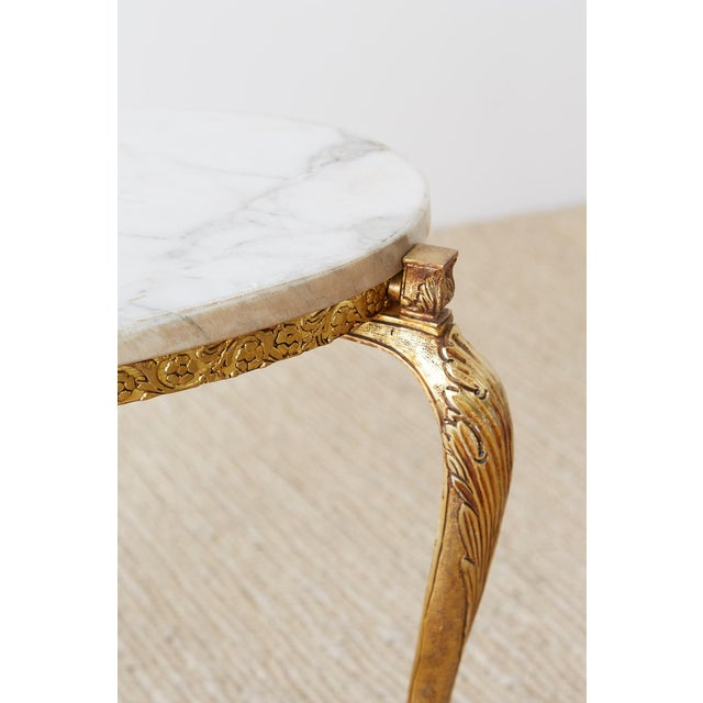 Nest of Italian Doré Bronze and Marble Drink Tables For Sale - Image 9 of 13