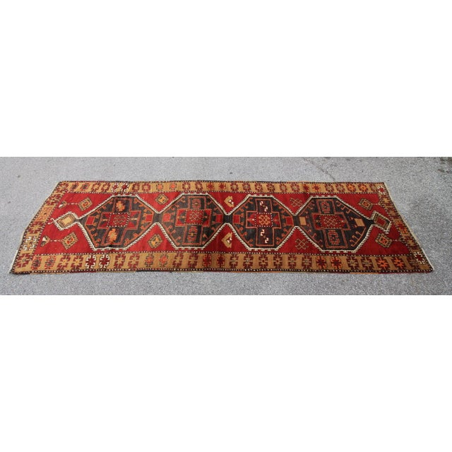 Islamic Vintage Tribal Antique Turkish Oushak Hand Knotted Rug - 3'9 X 11'10 For Sale - Image 3 of 5