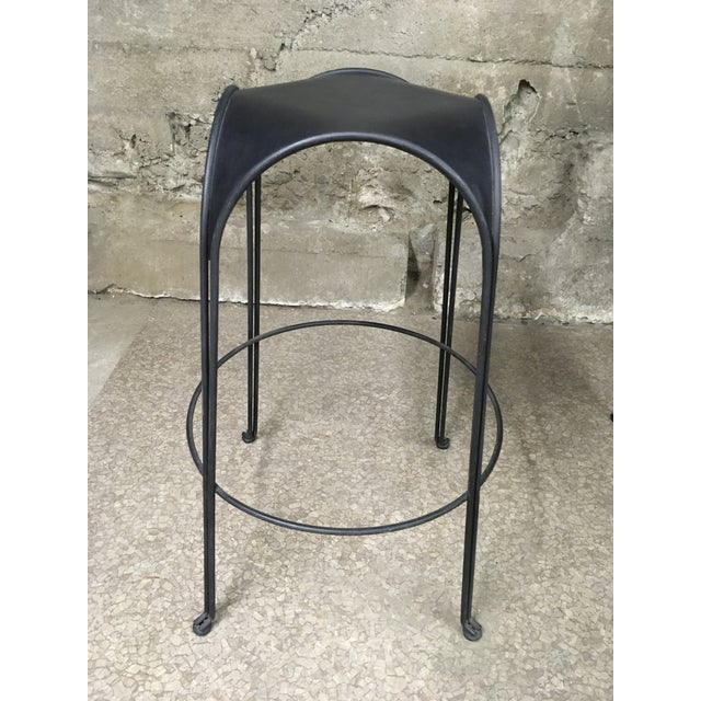 1980s Modern Iron Barstools With Black Leather Tops- Set of 4 For Sale In Los Angeles - Image 6 of 11