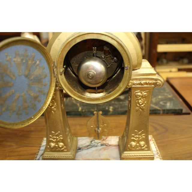 White 1940s French Art Deco Gilt Clock Garniture Set Signed G. Limousin - 3 Pc. Set For Sale - Image 8 of 11
