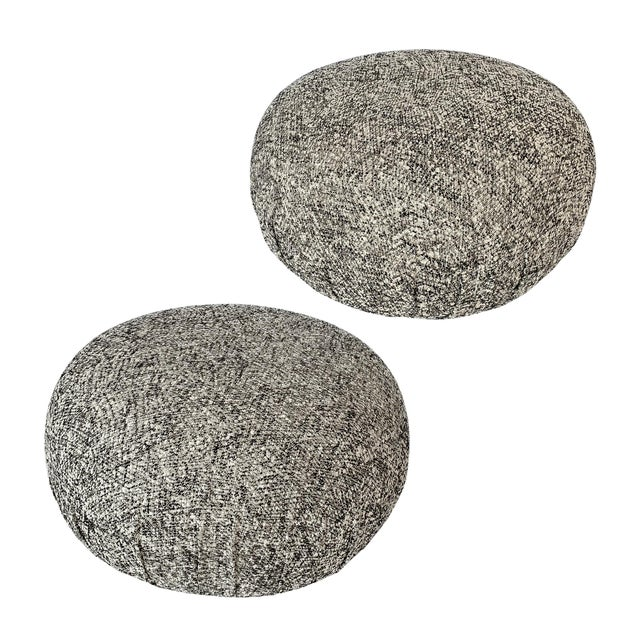 Pair of Souffle Pouf Ottomans in Ivory, Black and Metallic Gold Fabric For Sale - Image 10 of 10