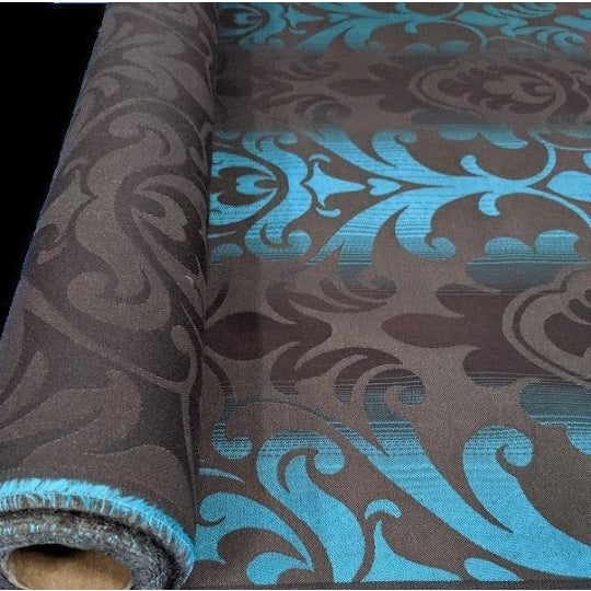 Art Deco Art Deco Brown & Teal Paisley Patterned Wallcovering For Sale - Image 3 of 4