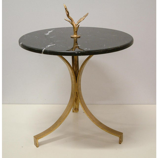 Black 1998 Contemporary Forged and Gilt Gold Steel and Black Marble Occasional Table by Maurice Beane Studios For Sale - Image 8 of 8