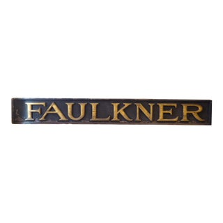 19th Century American Weathered Black & Gold Wooden Sign For Sale