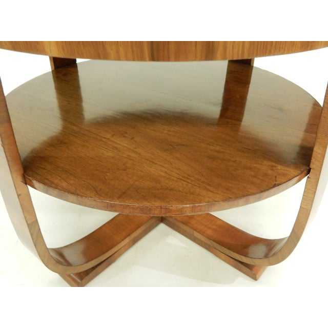 1930's Round Art Deco Walnut Side Table For Sale - Image 4 of 9
