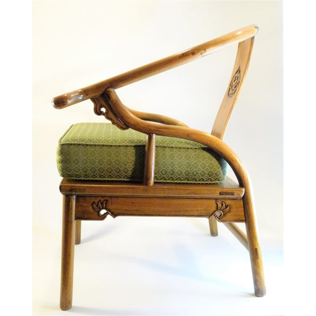 Vintage Chinese Horseshoe Elm Wood Chair For Sale - Image 5 of 13