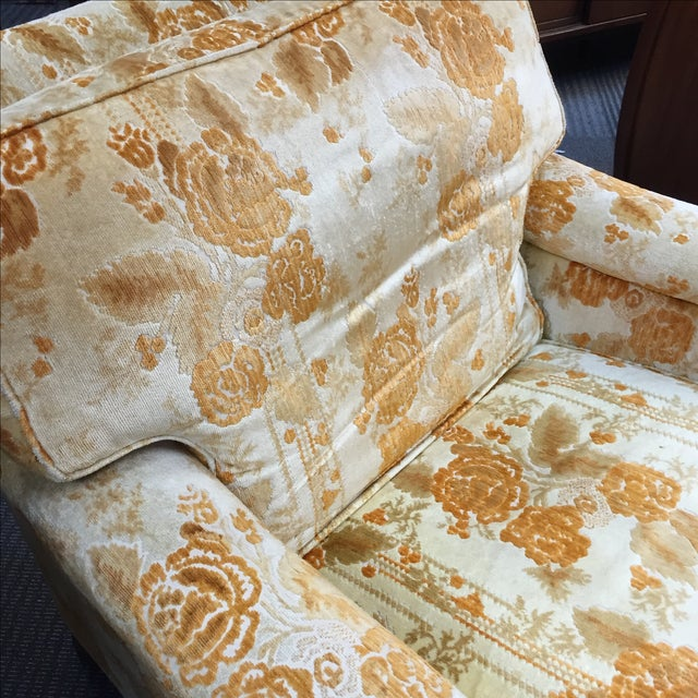 Mid-Century Golden Floral Chair & Ottoman - Image 3 of 4