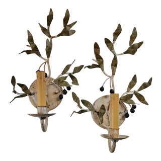 Vintage Metal Olive Branch Wall Sconces - a Pair For Sale
