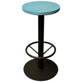 New Industrial Wrought Iron Shop Stool With Turquoise Wood Seat For Sale