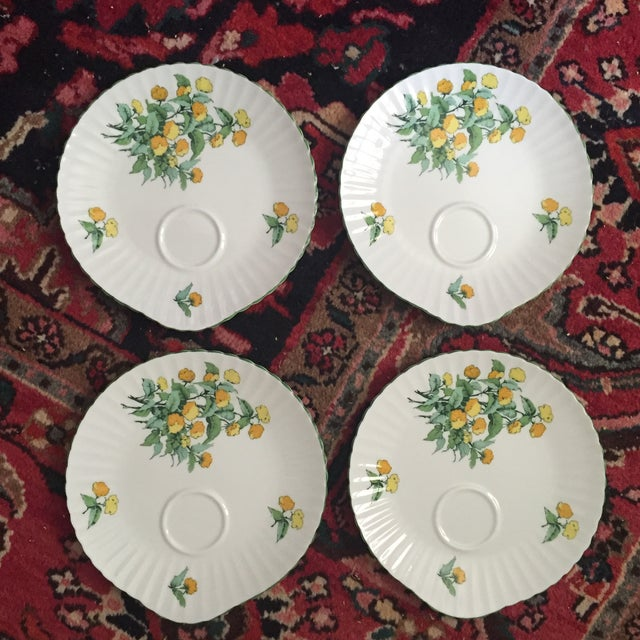 """Gorgeous set of 4 teacup dessert plates Fine bone china Staffordshire England """"Cornwall"""" Features a yellow floral motif..."""