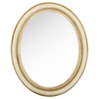 Small Ivory Antiqued Oval Mirror