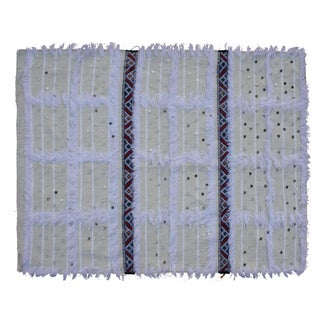Striped Moroccan Berber Throw With Fringe For Sale