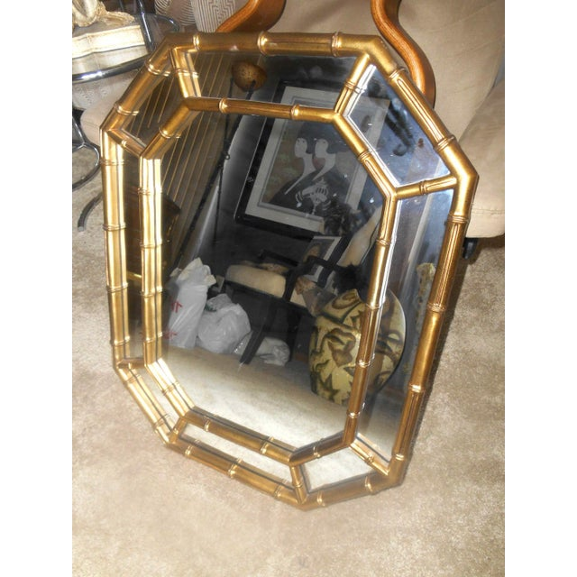 Vintage Mid-Century Hollywood Regency Faux Bamboo Gold Wall Mirror For Sale - Image 5 of 7