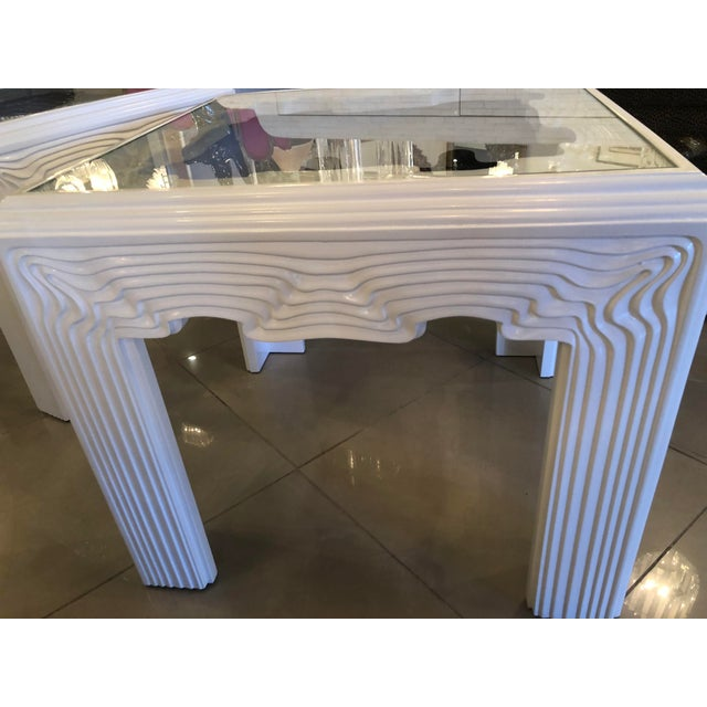 Vintage Modern White Lacquered Wavy End Side Tables -A Pair For Sale - Image 9 of 13