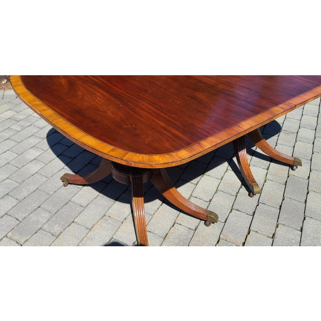 Baker Furniture Company Antique 1930s Banded Mahogany Baker Furniture Double Pedestal Dining Room Table W/ 3 Leaves For Sale - Image 4 of 10