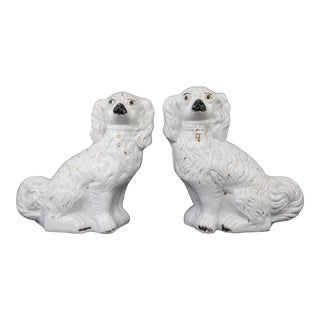 Large Antique English Staffordshire Dogs - a Pair For Sale
