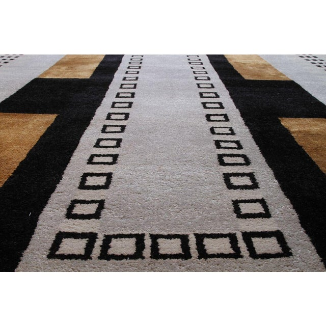 Mid-Century Modern Vintage Mid-Century Hand-Knotted Geometric Rug - 11′8″ × 13′10″ For Sale - Image 3 of 6