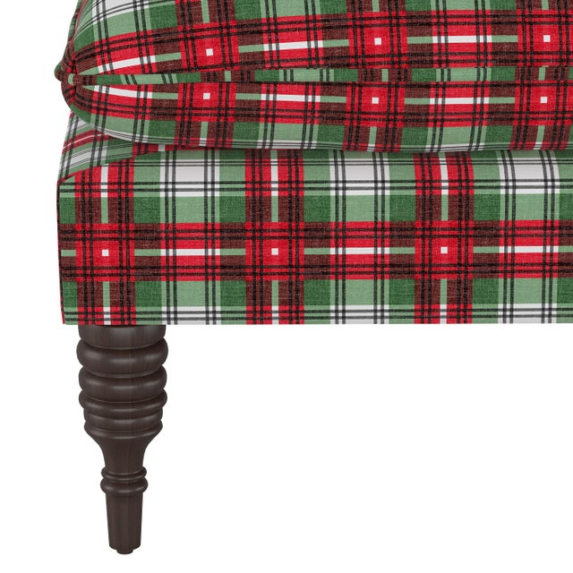 Contemporary Pillowtop Bench in Nicolas Plaid Green Oga For Sale - Image 3 of 6